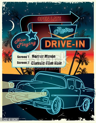Vector illustration of a Drive in scene with retro neon sign lettering design, classic car and night time scene with palm trees. Includes vector eps in download and hi resolution jpg. Royalty free illustration.