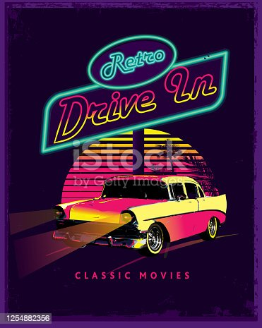 Vector illustration of a Drive in scene with retro neon sign lettering design, classic car, night time scene with palm trees. Includes vector eps in download and hi resolution jpg. Royalty free illustration.