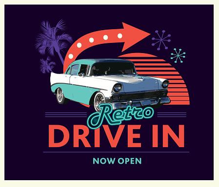 Classic Retro Drive in poster design advertisement