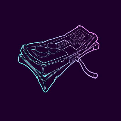 Classic retro gempad icon. Old stylized play console joystick on purple background.