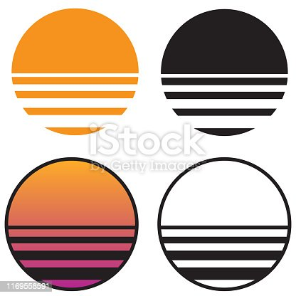 Very cool and classic retro style sunsets from the 70s, 80s and 90s in solid color, black and white, and gradient pink to orange tones. Simple and sharp isolated vector illustration for easy editing.