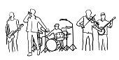 Rock band with five members including singer, bassist, fiddle, drummer and banjo player.