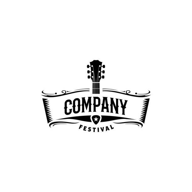 stockillustraties, clipart, cartoons en iconen met klassieke rock country gitaar muziek vintage retro lint banner ontwerp - gitaar