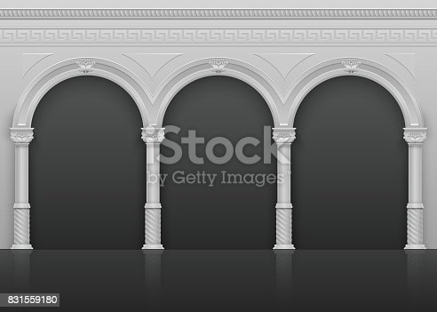 Classic roman antique interior with stone arches and columns vector illustration. Architecture ancient arch with column