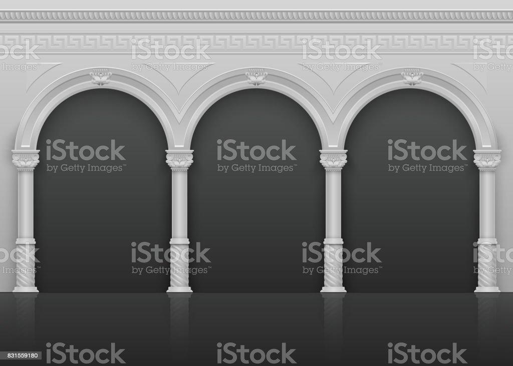 L'intérieur antique romaine classique avec Pierre arches et colonnes vector illustration - Illustration vectorielle