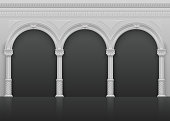 Classic roman antique interior with stone arches and columns vector illustration