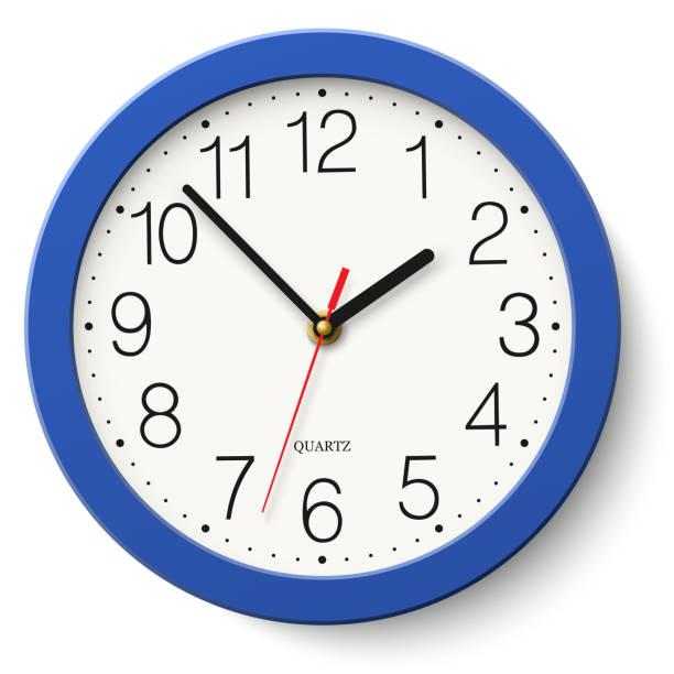 ilustraciones, imágenes clip art, dibujos animados e iconos de stock de reloj de pared redondo clásico en azul cuerpo aislado sobre fondo blanco - wall clock