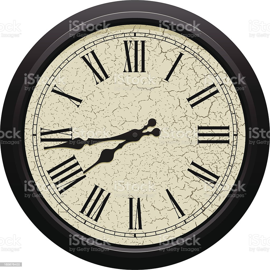 Classic round wall clock with Roman numerals vector art illustration
