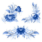 Classic russian gzhel ornament motif with flowers and leaves, in bright cobalt color