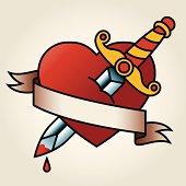 Classic Sailor-Tattoo Styled Bleeding Heart and Dagger