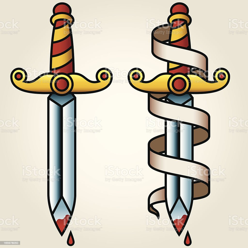 Classic Sailor-Tattoo Styled Dagger and Banner vector art illustration