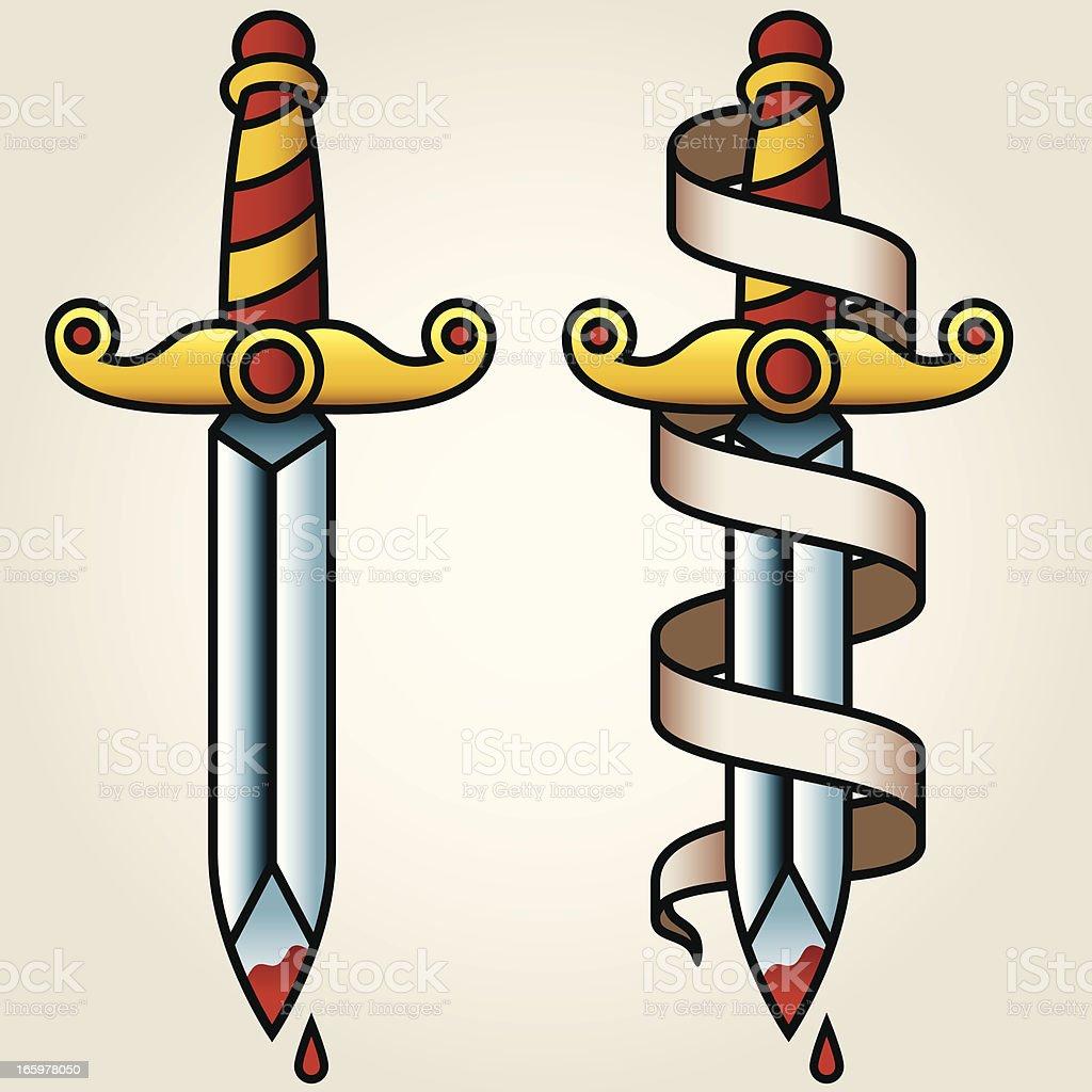 Marinheiro-clássico estilo de tatuagem de Banner Adaga e - ilustração de arte em vetor