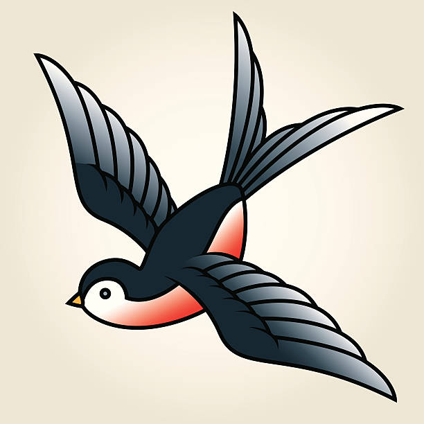 klassische sailor-tattoo das swallow - vogel tattoos stock-grafiken, -clipart, -cartoons und -symbole