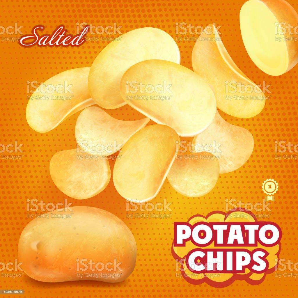 Classic salted potato chips advertising, 3d illustration vector art illustration