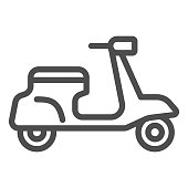 Classic scooter line icon, transportation symbol, Moped vector sign on white background, delivery motorcycle icon in outline style for mobile concept and web design. Vector graphics