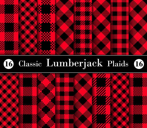 ilustraciones, imágenes clip art, dibujos animados e iconos de stock de leñador juego clásico patrón de cuadros en rojo y negro. - fondos de franela