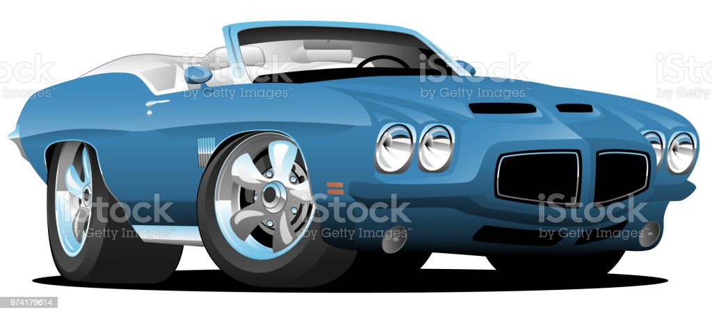 Classic Seventies Style American Convertible Muscle Car Cartoon