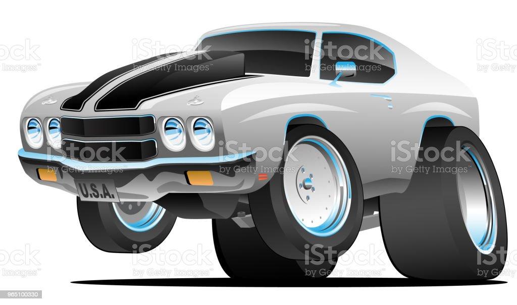 Classic Seventies Style American Muscle Car Cartoon Vector Illustration classic seventies style american muscle car cartoon vector illustration - stockowe grafiki wektorowe i więcej obrazów błyszczący royalty-free