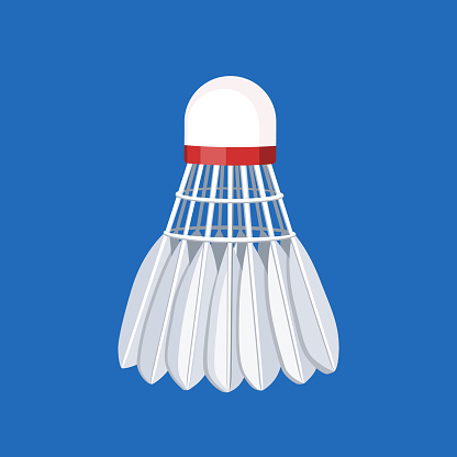 Classic shuttlecock for badminton with feathers, vector illustration.