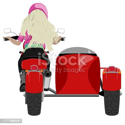 Color classic sidecar motorcycle with blond girl rider in pink helmet, t-shirt back view isolated on white vector illustration