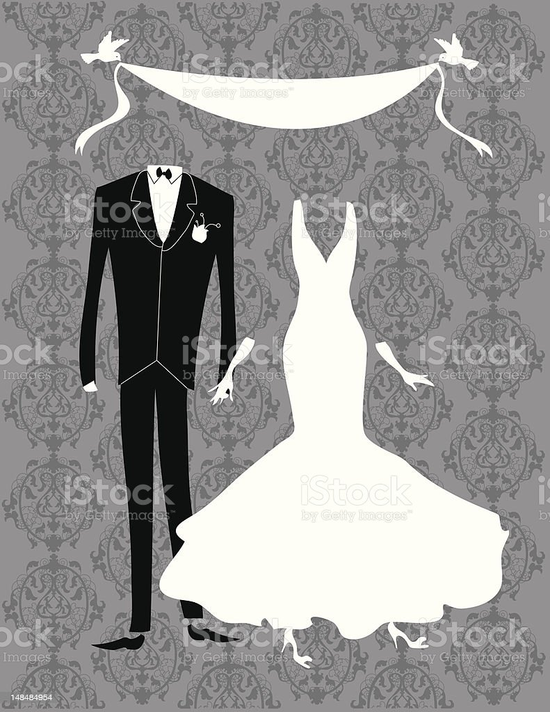 Classic Silver Wedding royalty-free stock vector art