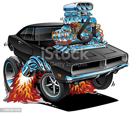 Sweet looking black American sixties muscle car hot rod cartoon illustration, popping a wheelie, huge engine, lots of chrome, flaming exhaust, smoking tires, perfect for the automobile enthusiast