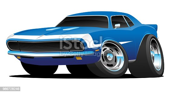 Hot American 1960's style muscle car cartoon. Gorgeous blue with white stripe, aggressive stance, big tires, classic rims with lots of chrome trim, full color vector illustration