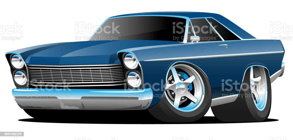 Classic Sixties Style Big American Muscle Car Cartoon Vector