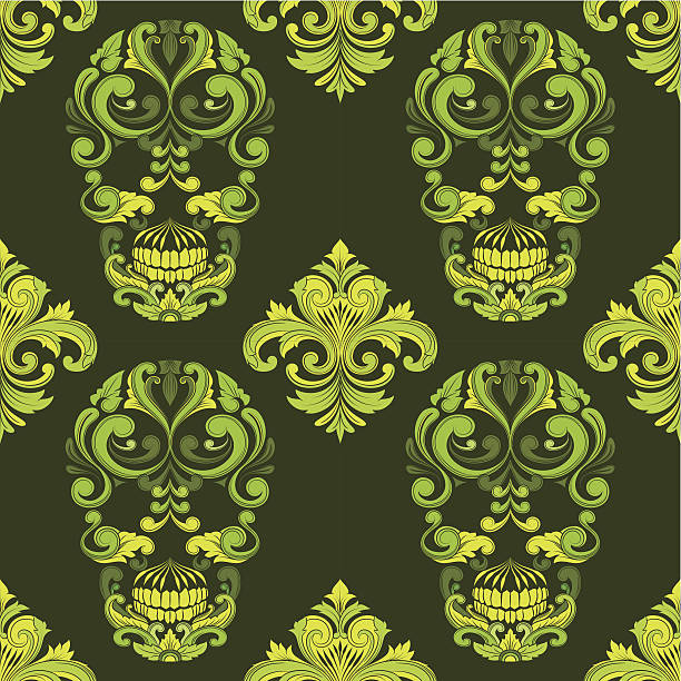 Classic Skull Ornamental Pattern vector art illustration