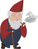 Classic smoking gardening gnome