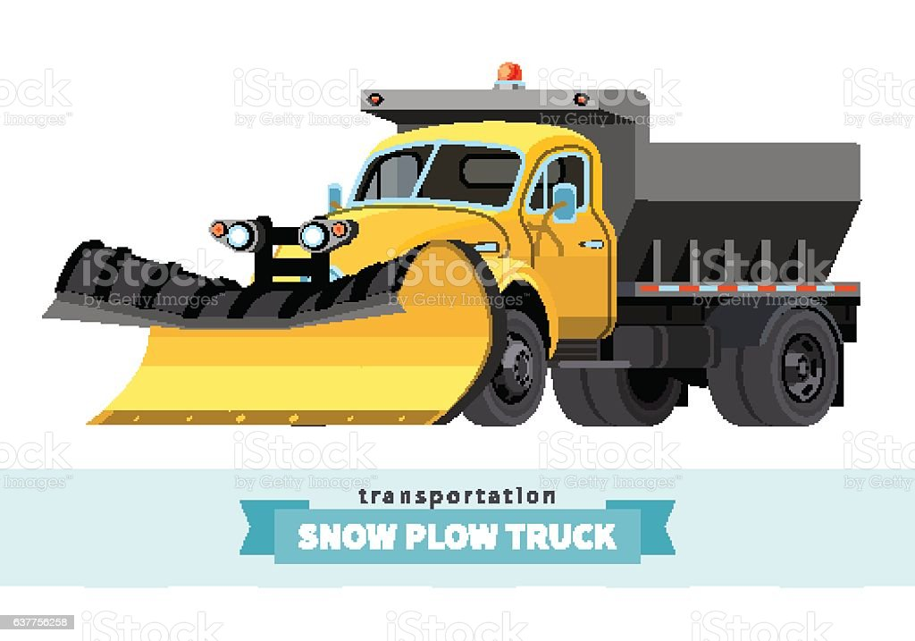 Classic snow plow truck front side view vector art illustration
