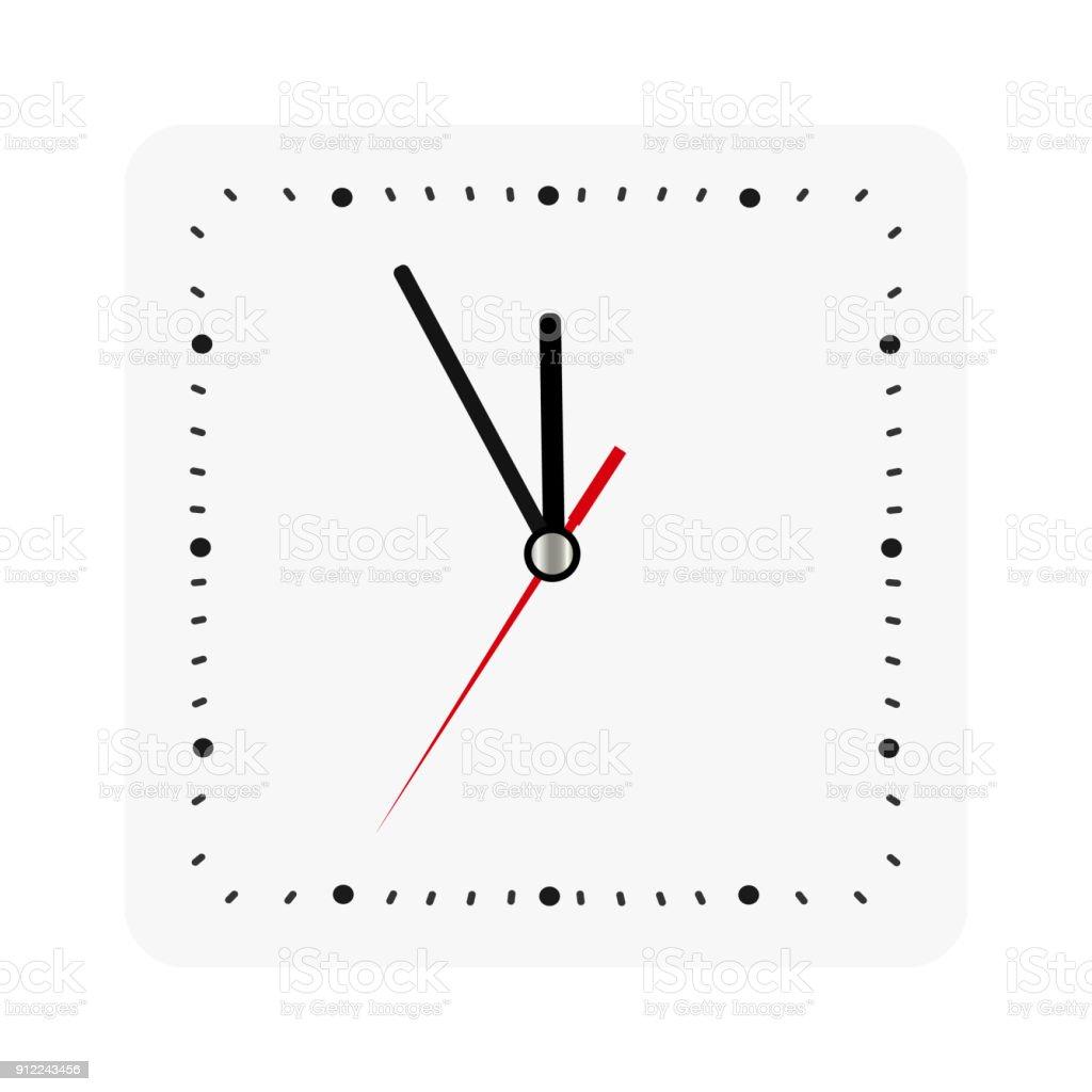 Ilustración de Reloj De Pared Cuadrado Clásico Aislado En Blanco ...