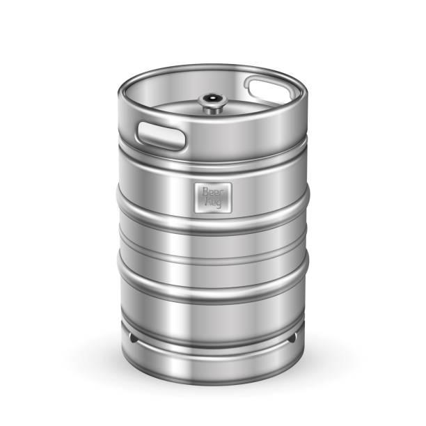 klassische edelstahl bier keg fass vektor - bierfass stock-grafiken, -clipart, -cartoons und -symbole
