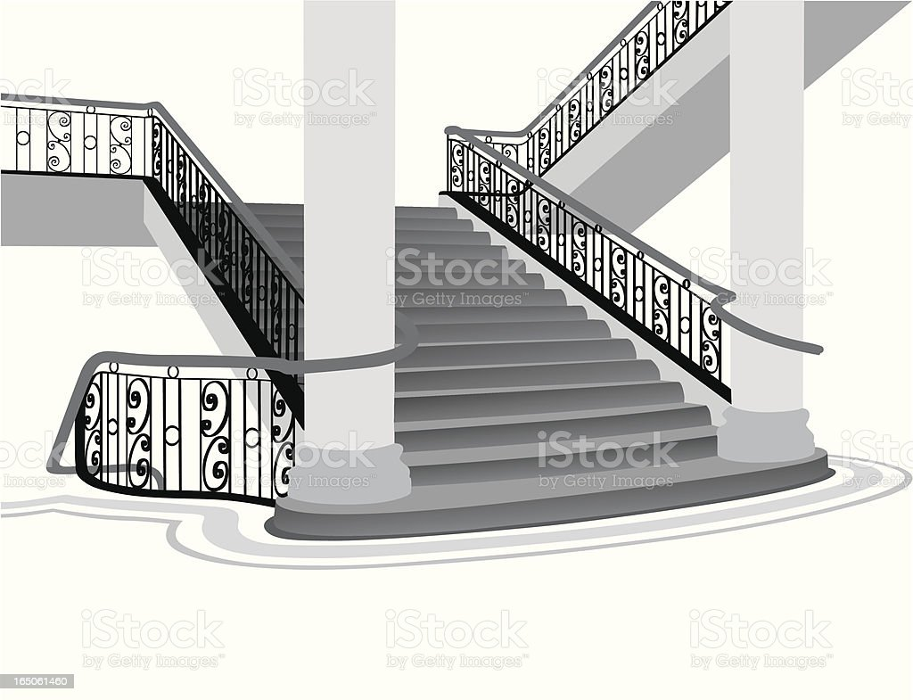 Classic Staircase Vector Silhouette royalty-free stock vector art