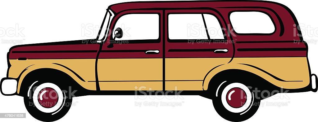 Classic station wagon vector art illustration