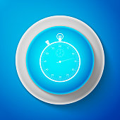 Classic stopwatch icon isolated on blue background. Timer icon. Chronometer sign. Circle blue button. Vector illustration