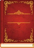 Blank red leather book with gold trim.