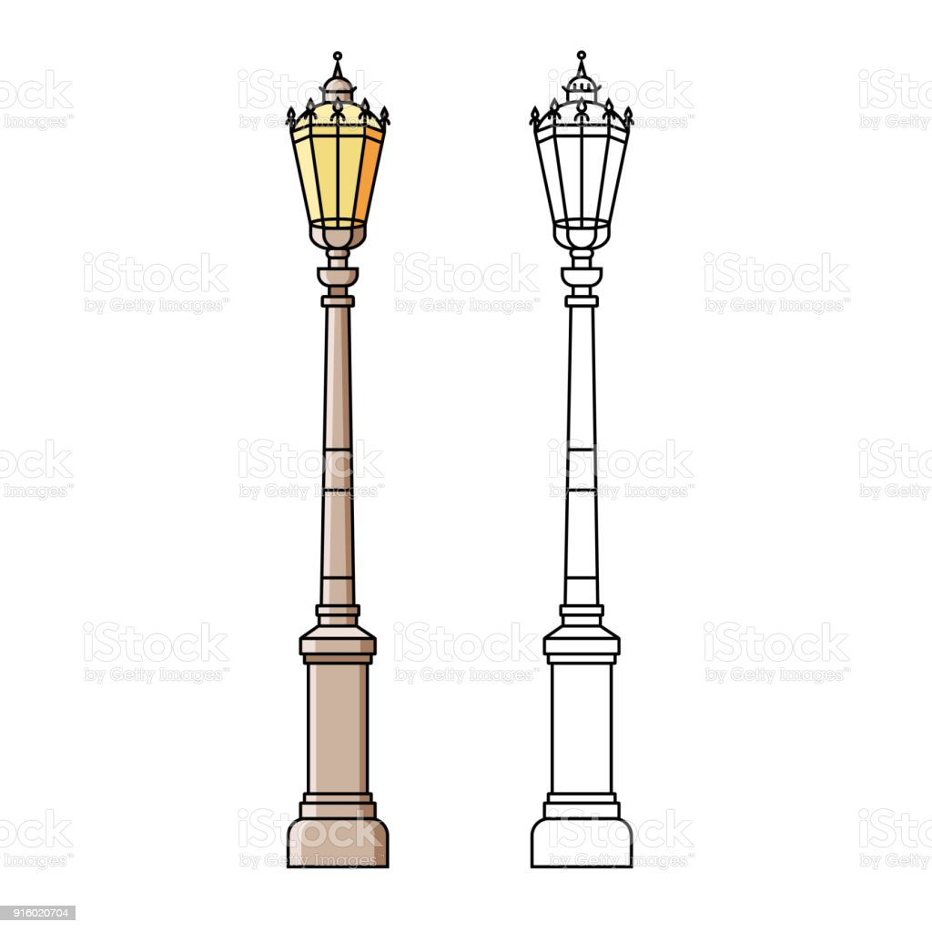 Street Light Colors: Classic Street Light Pole Or Standard In Flat Color Line