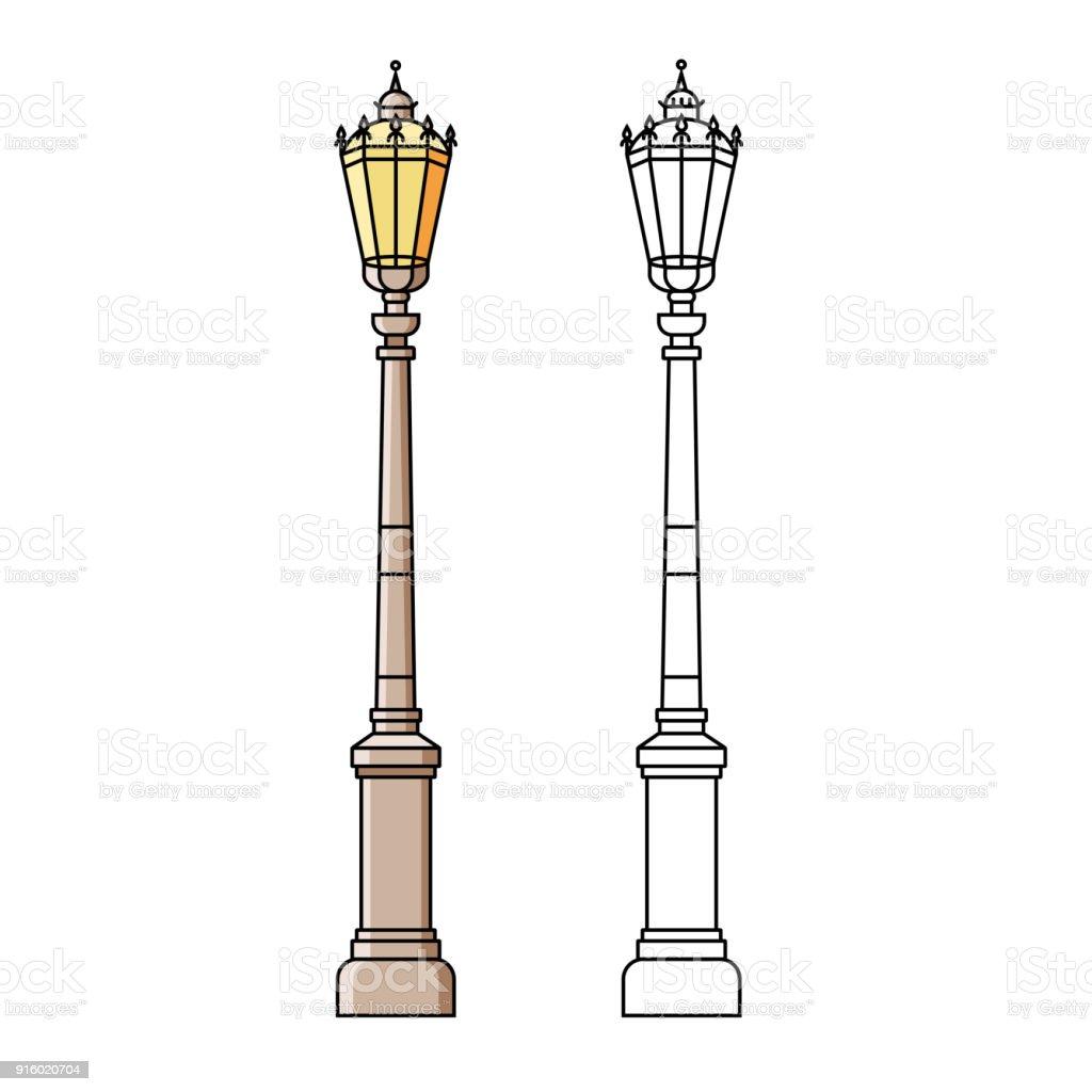 Poste ligero de calle clásico o estándar en el diseño de la línea plana de color sobre fondo aislado. Lámpara de la iluminación de la ciudad - objeto al aire libre en fino estilo lineal. - ilustración de arte vectorial