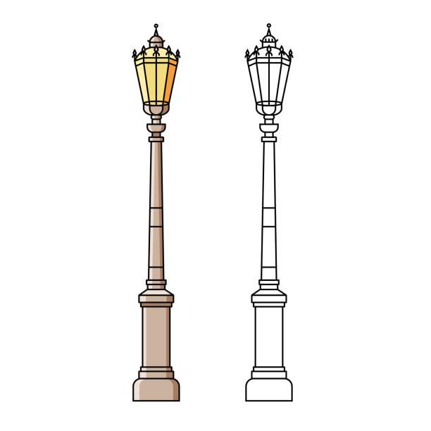 ilustraciones, imágenes clip art, dibujos animados e iconos de stock de poste ligero de calle clásico o estándar en el diseño de la línea plana de color sobre fondo aislado. lámpara de la iluminación de la ciudad - objeto al aire libre en fino estilo lineal. - señalización vial