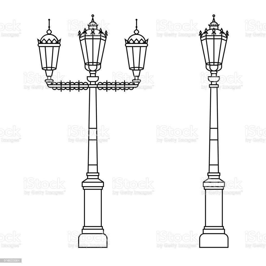Ilustración de Poste Ligero De Calle Clásico O Estándar En El Diseño ...