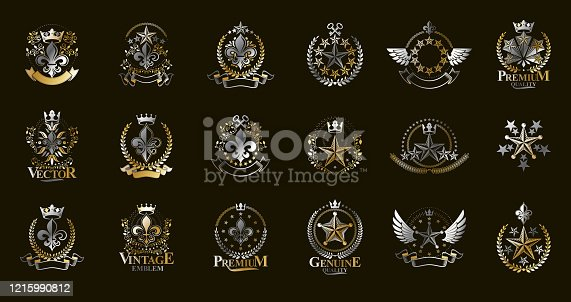 Classic style stars emblems big set, ancient heraldic symbols awards and labels collection, classical heraldry design elements, family or business emblems.