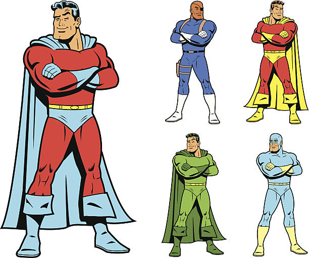 Classic Superhero and Cool Variations Image Set vector art illustration