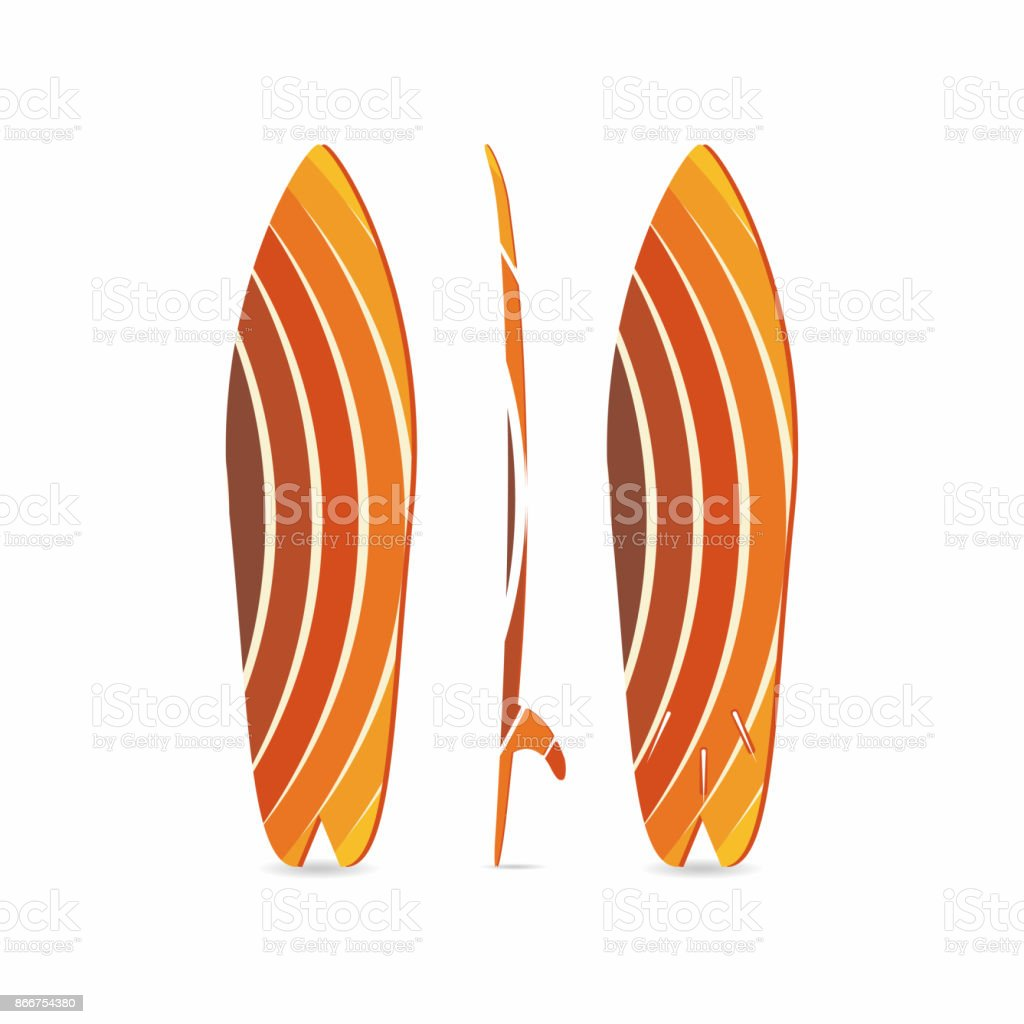 Classic surfboard. Three-sided surfboard illustration. Three projections. Colorful circular fish board vector art illustration