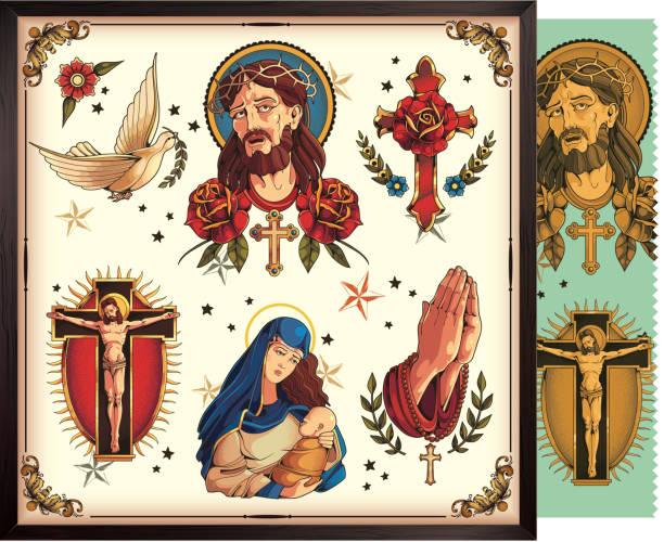 ilustraciones, imágenes clip art, dibujos animados e iconos de stock de los símbolos clásicos del cristianismo - tatuajes de ángeles
