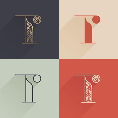 Classic T letter logo with premium decoration. Four style serif font set.