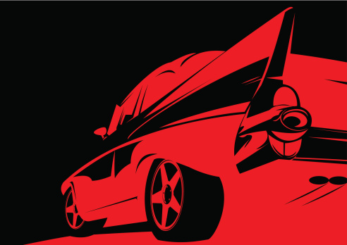 Classic tail fin 50's car stencil