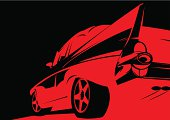 Classic tail fin 50's car stencil. See also: