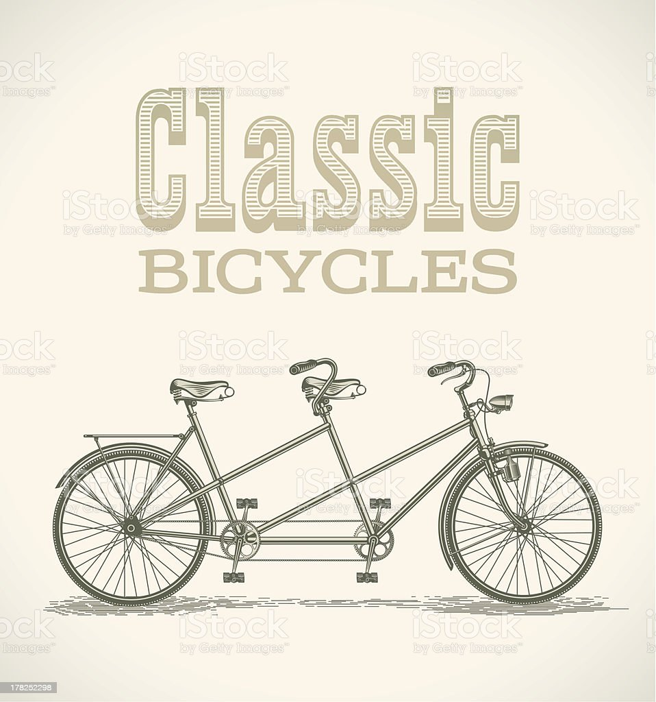 Classic tandem bicycle vector art illustration