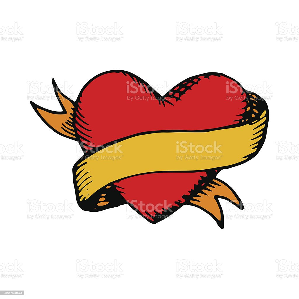 Classic tattoo vector heart and ribbon vector art illustration